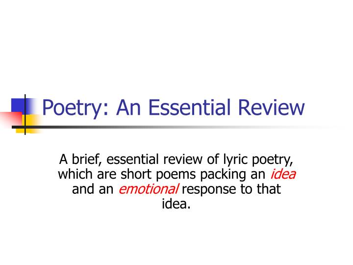 poetry an essential review n.