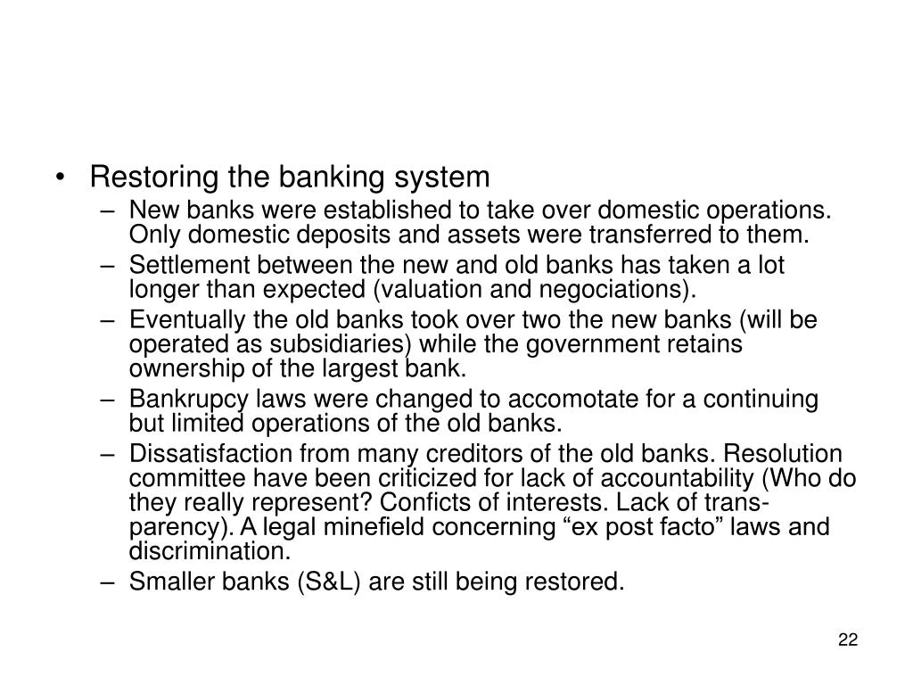 Restoring the banking system