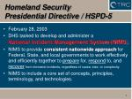 homeland security presidential directive hspd 5