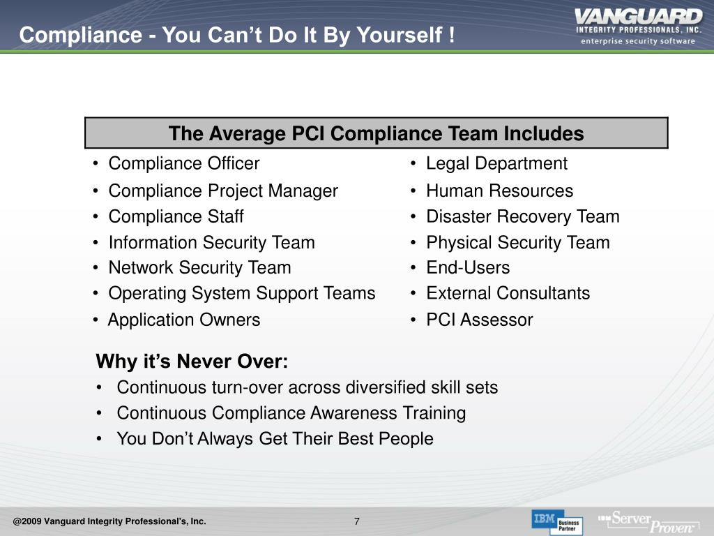Compliance - You Can't Do It By Yourself !
