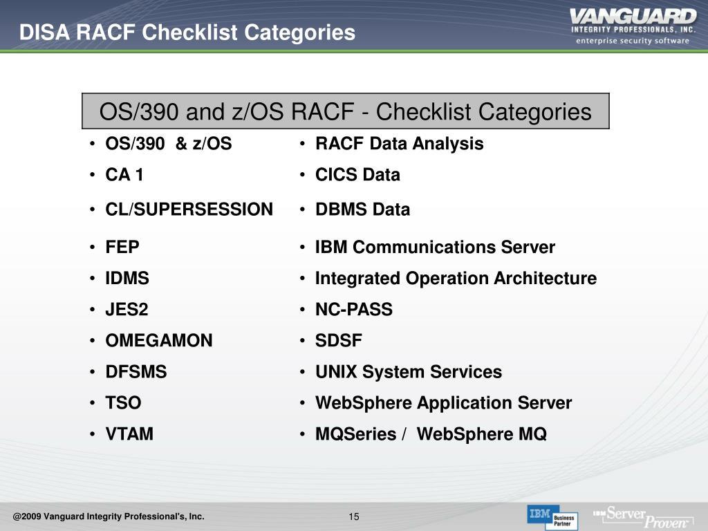 DISA RACF Checklist Categories