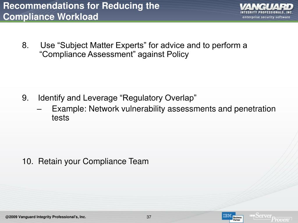Recommendations for Reducing the