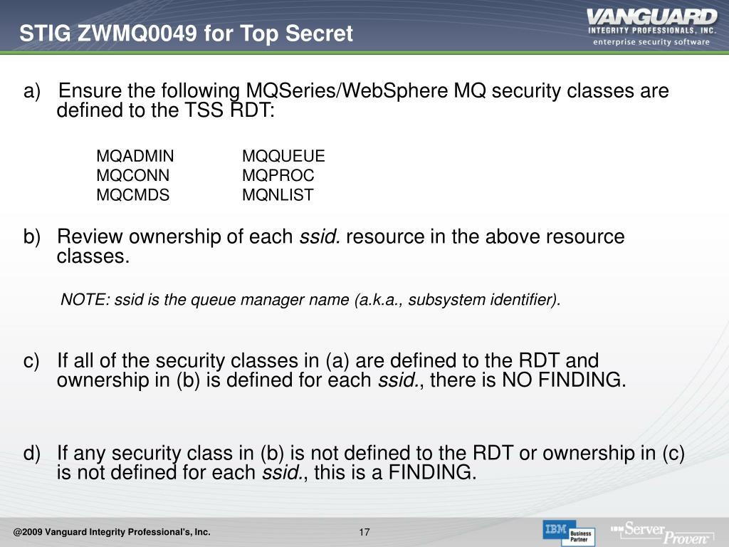 STIG ZWMQ0049 for Top Secret