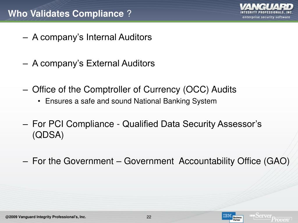 Who Validates Compliance