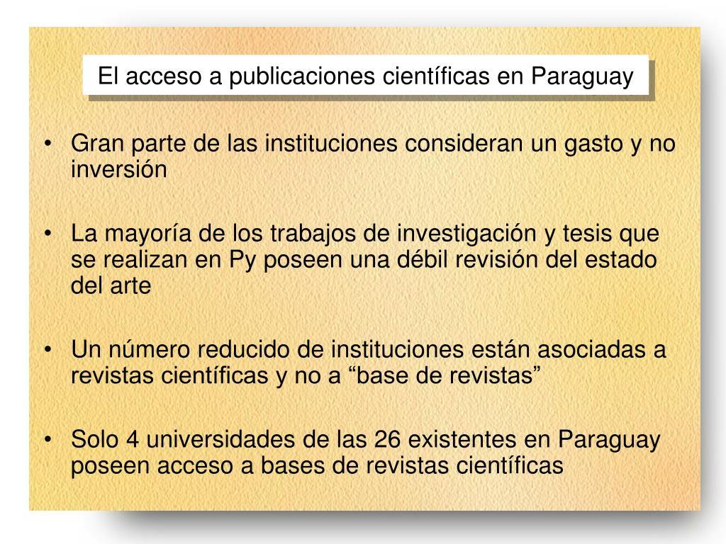 El acceso a publicaciones científicas en Paraguay