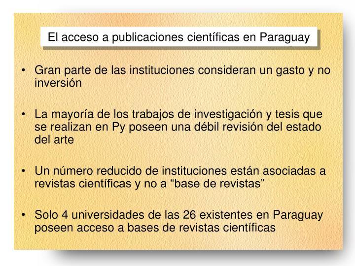 El acceso a publicaciones cient ficas en paraguay