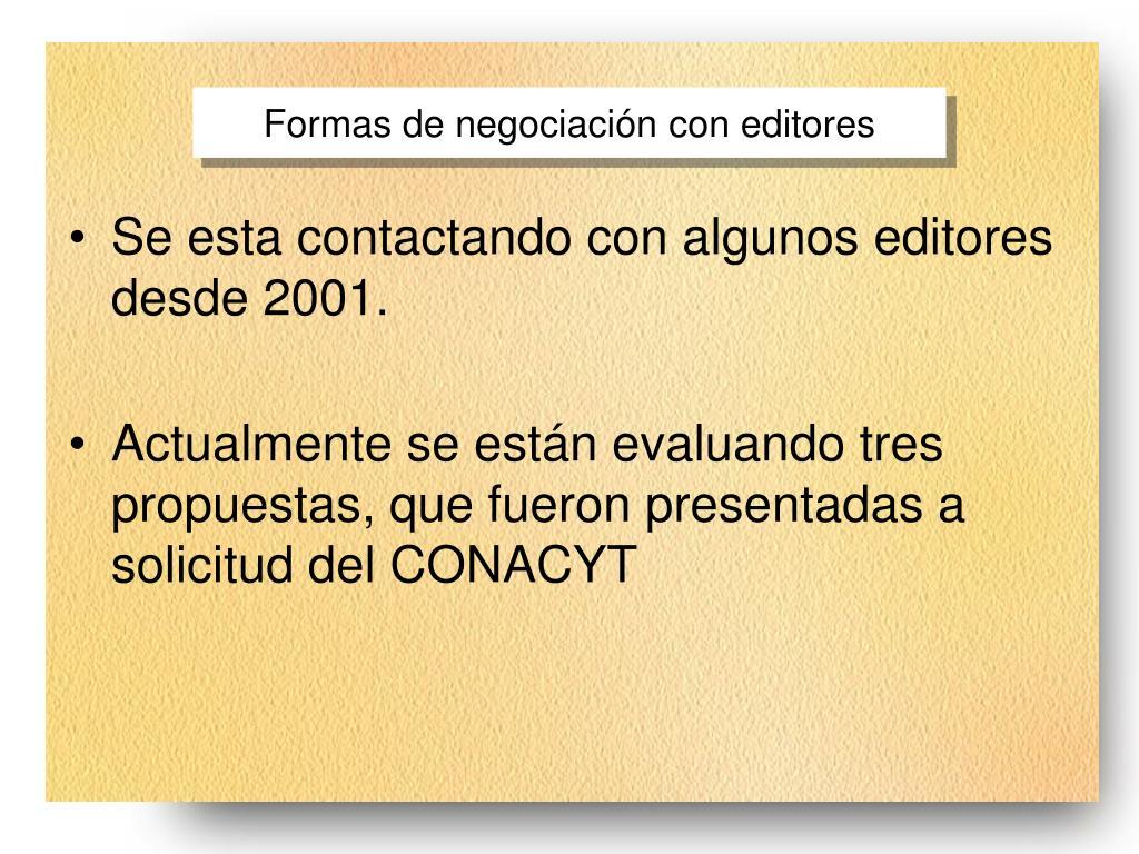 Formas de negociación con editores