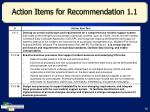 action items for recommendation 1 1