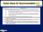 action items for recommendation 1 127