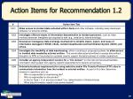 action items for recommendation 1 2