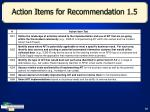 action items for recommendation 1 5
