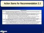 action items for recommendation 2 1