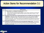action items for recommendation 3 1