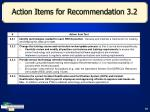 action items for recommendation 3 2
