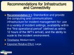 recommendations for infrastructure and connectivity