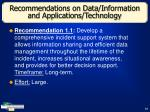 recommendations on data information and applications technology