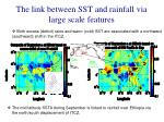the link between sst and rainfall via large scale features