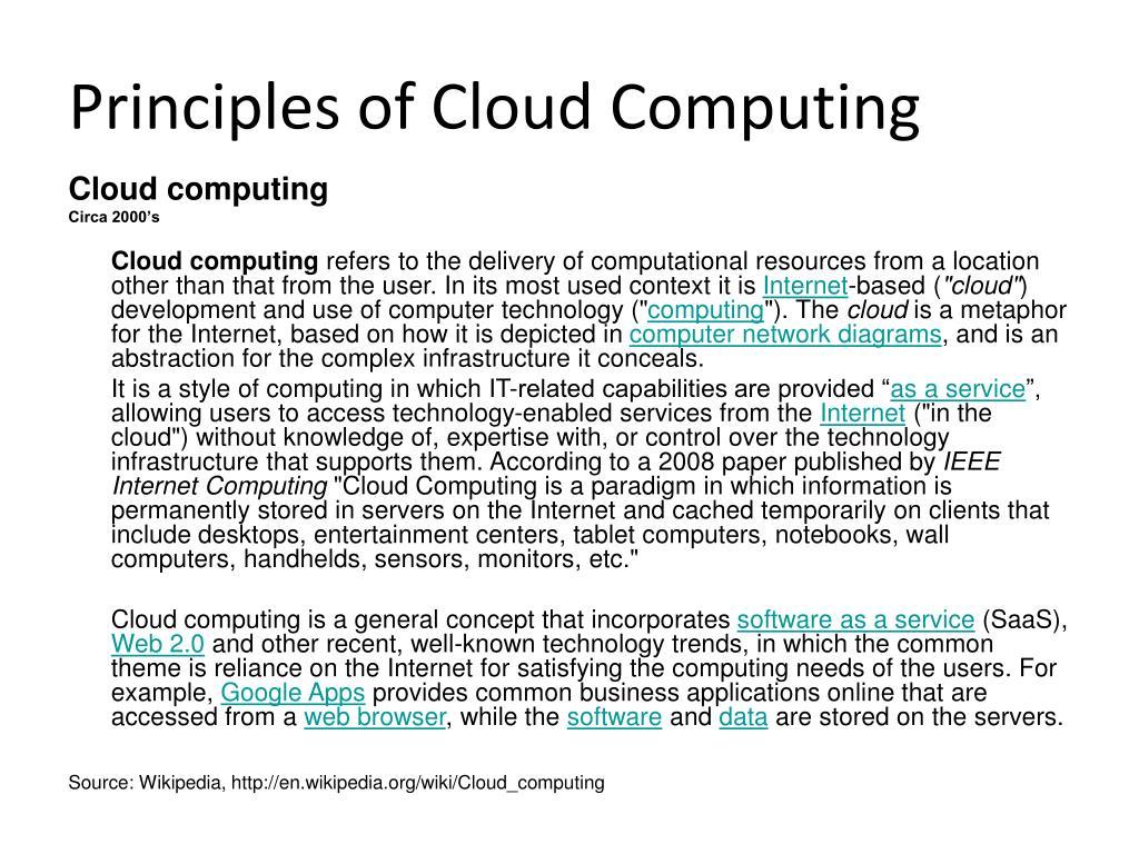 Principles of Cloud Computing