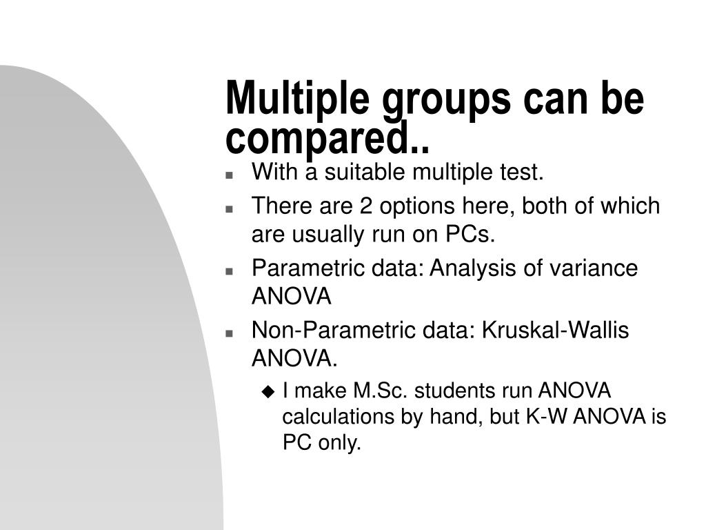 Multiple groups can be compared..