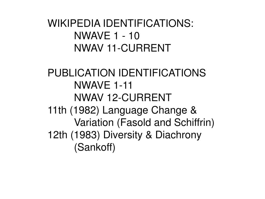 WIKIPEDIA IDENTIFICATIONS: