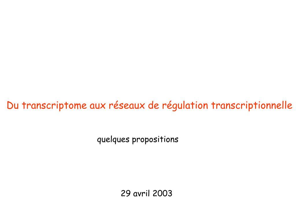 Du transcriptome aux réseaux de régulation transcriptionnelle