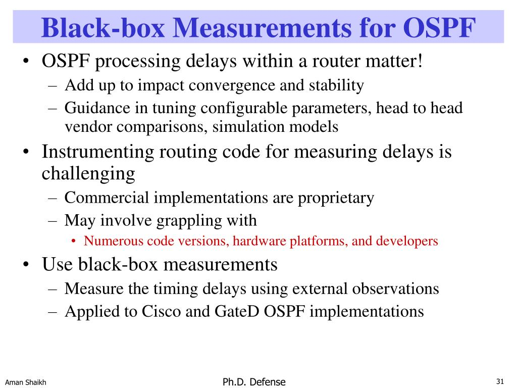 Black-box Measurements for OSPF