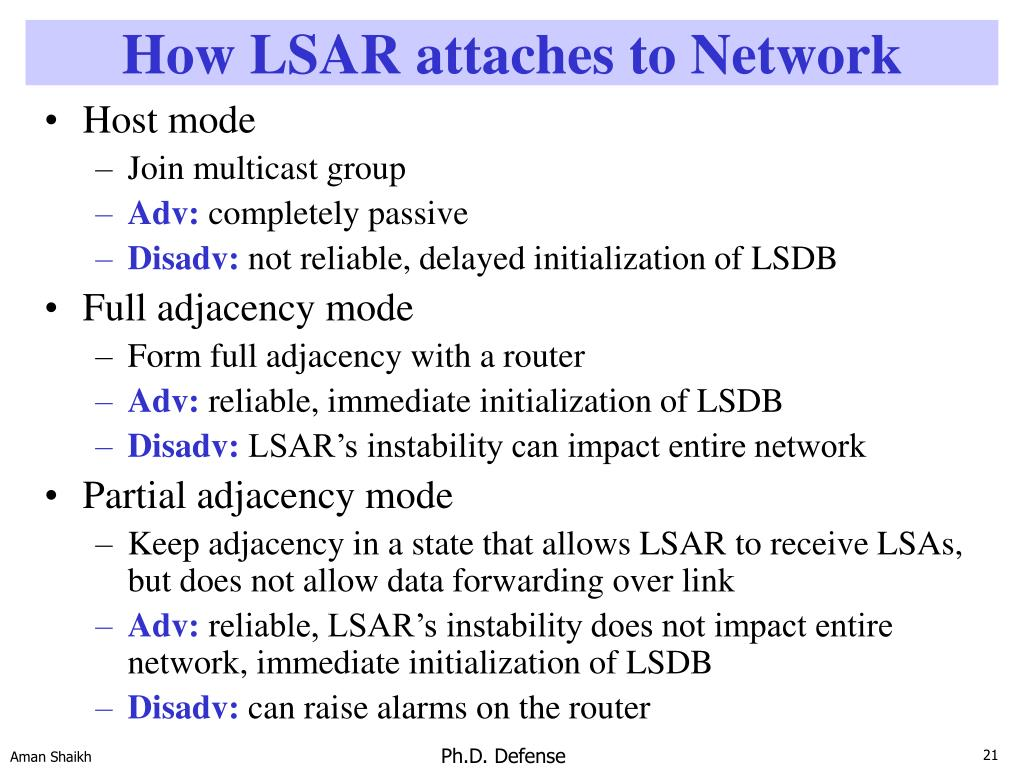 How LSAR attaches to Network