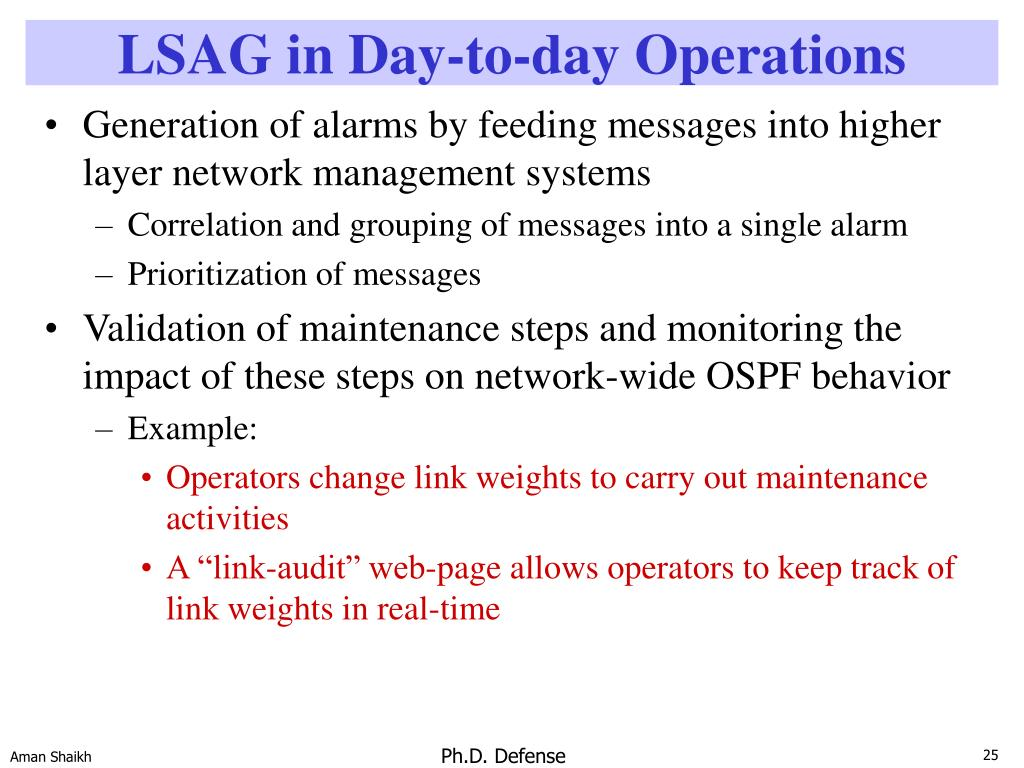 LSAG in Day-to-day Operations