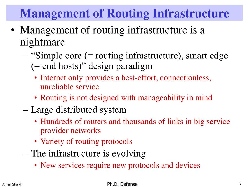 Management of Routing Infrastructure