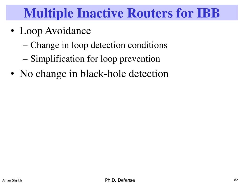 Multiple Inactive Routers for IBB