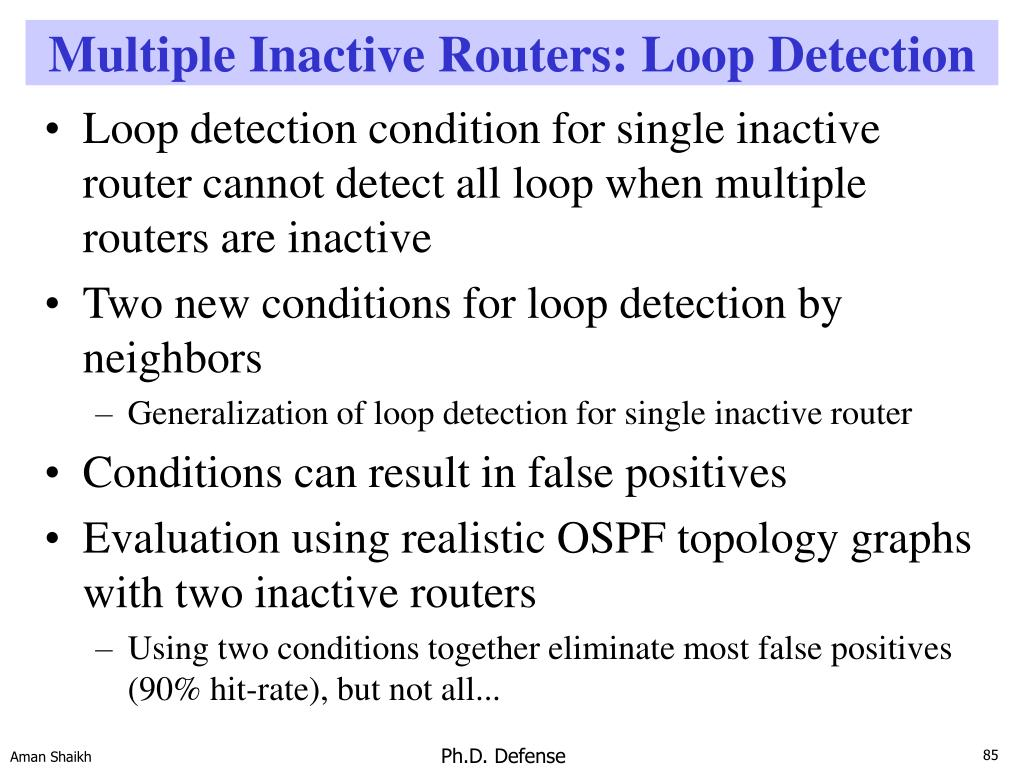 Multiple Inactive Routers: Loop Detection