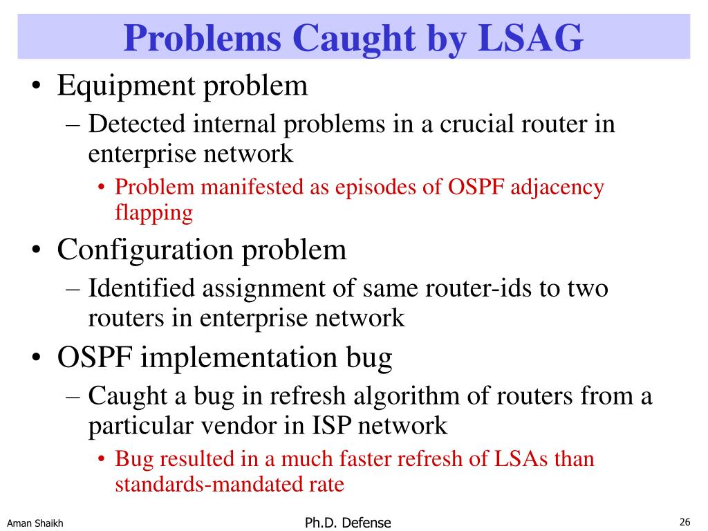 Problems Caught by LSAG