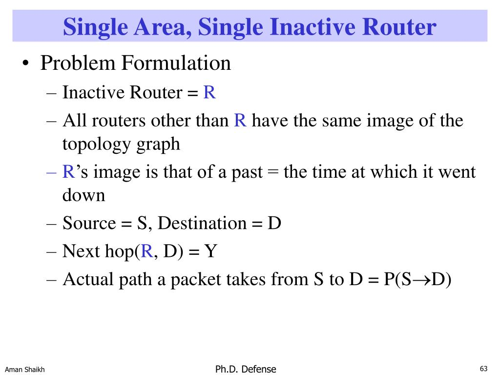 Single Area, Single Inactive Router