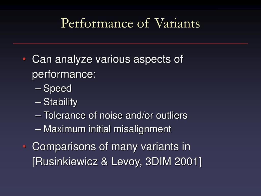 Performance of Variants