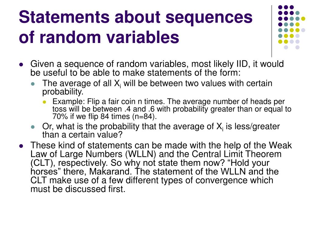 Statements about sequences of random variables