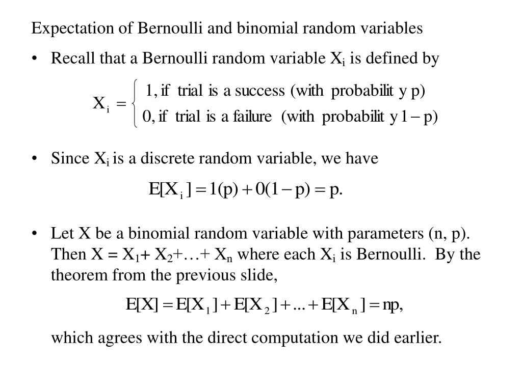 Expectation of Bernoulli and binomial random variables