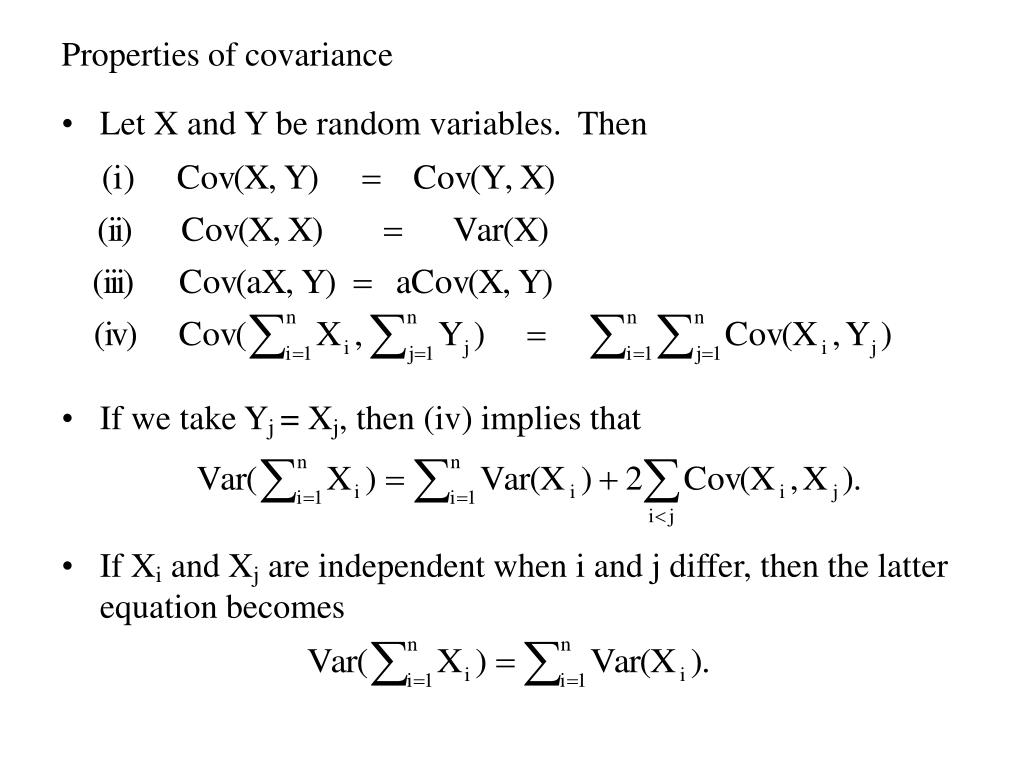 Properties of covariance
