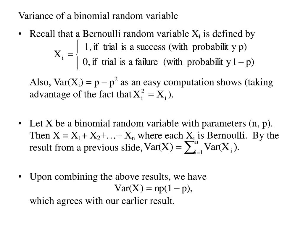 Variance of a binomial random variable