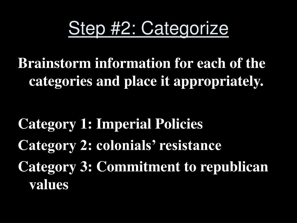 Step #2: Categorize