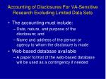 accounting of disclosures for va sensitive research excluding limited data sets
