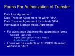 forms for authorization of transfer