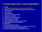 limited data sets direct identifiers