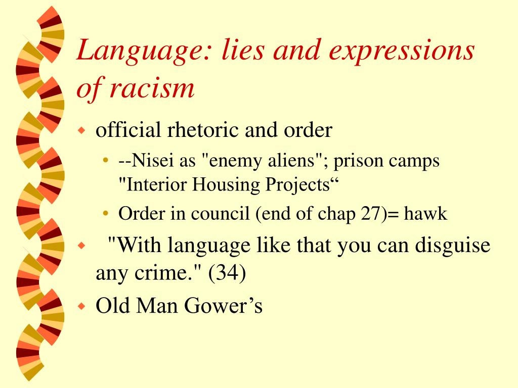 Language: lies and expressions of racism