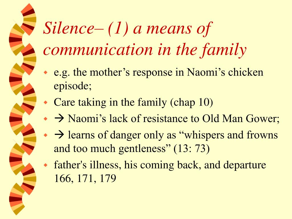 Silence– (1) a means of communication in the family