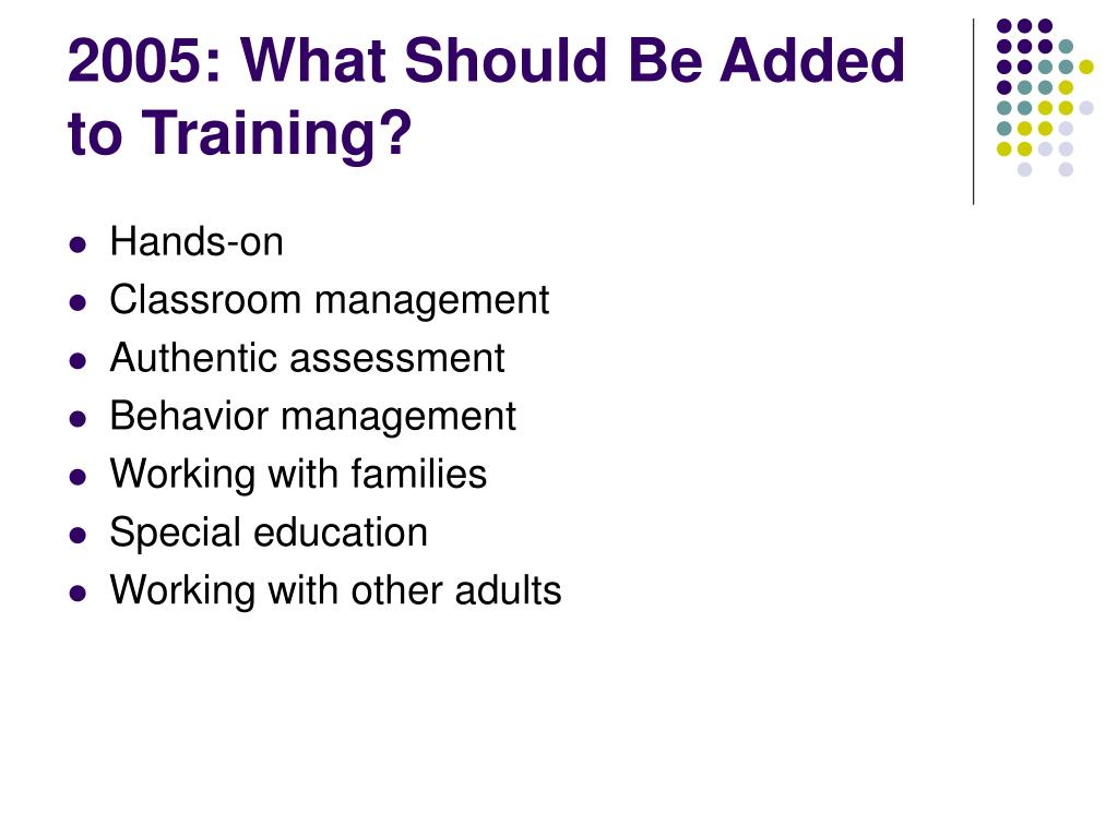 2005: What Should Be Added to Training?