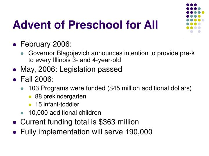Advent of preschool for all