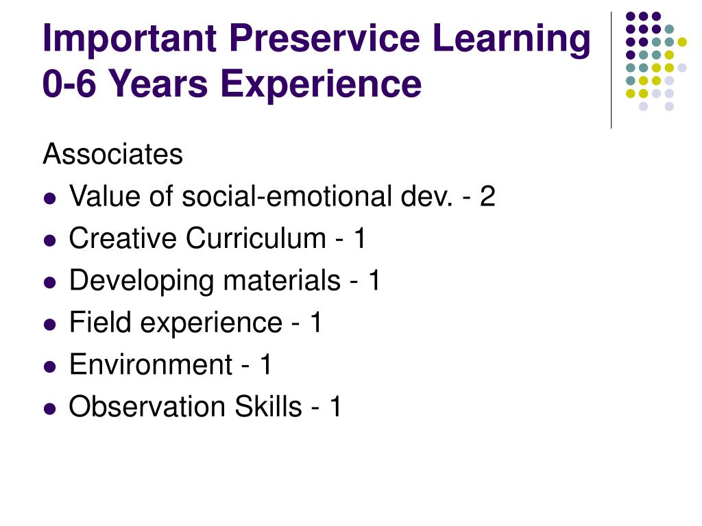 Important Preservice Learning 0-6 Years Experience