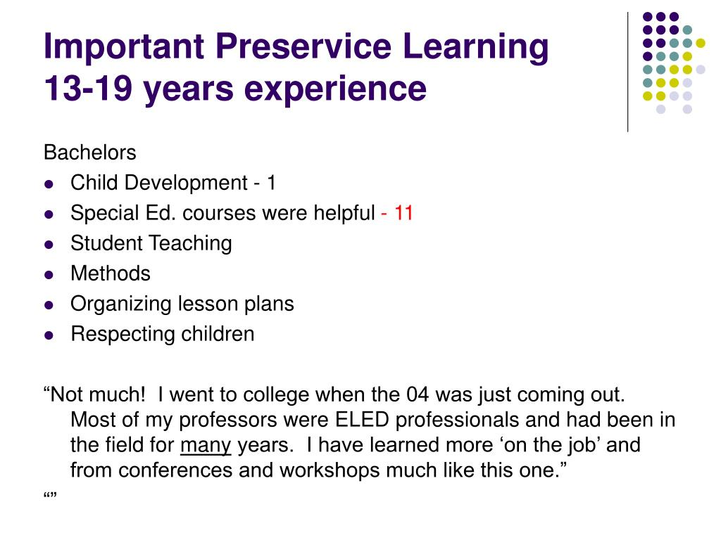 Important Preservice Learning