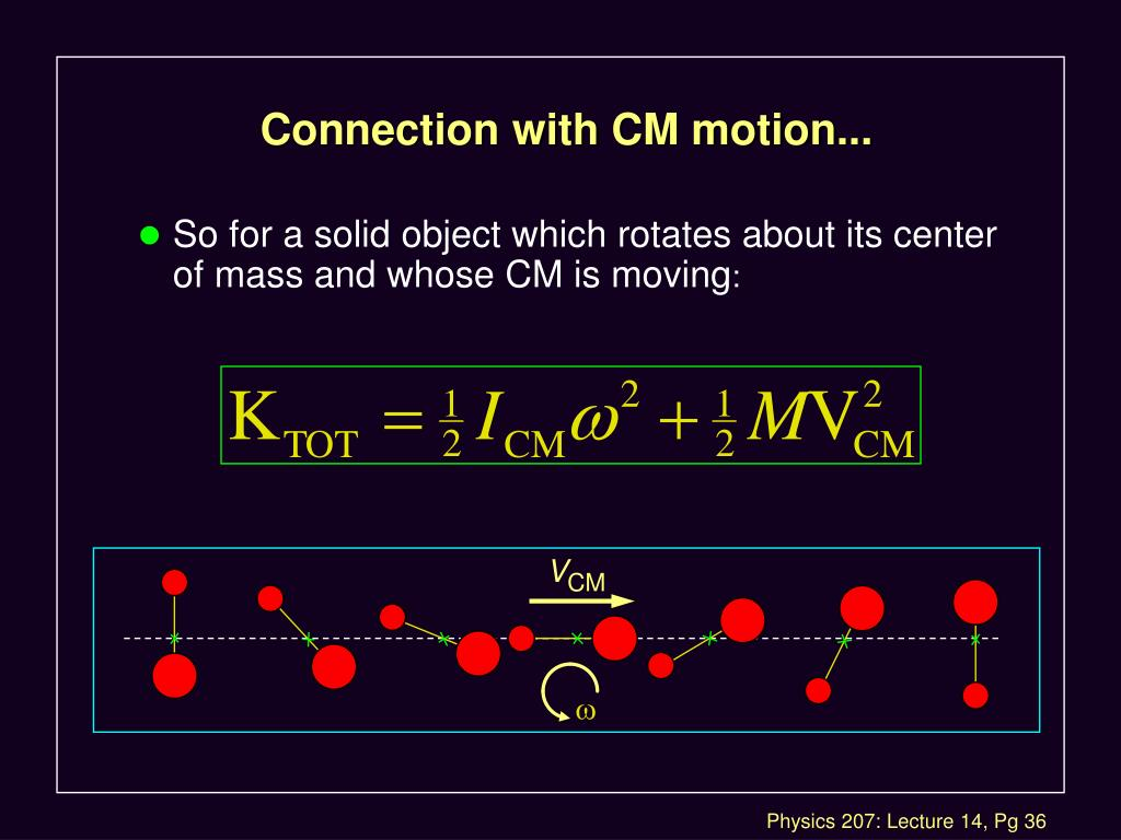 Connection with CM motion...
