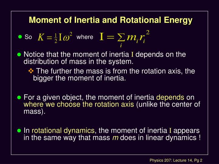 Moment of inertia and rotational energy